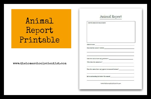 animal report printable TheHomeschoolScientist