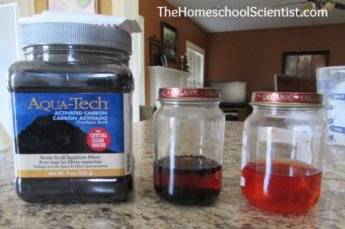 Charcoal water purifying experiment --TheHomeschoolScientist.com